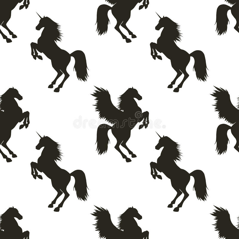 Vector seamless pattern with Pegasus and Unicorn. stock illustration