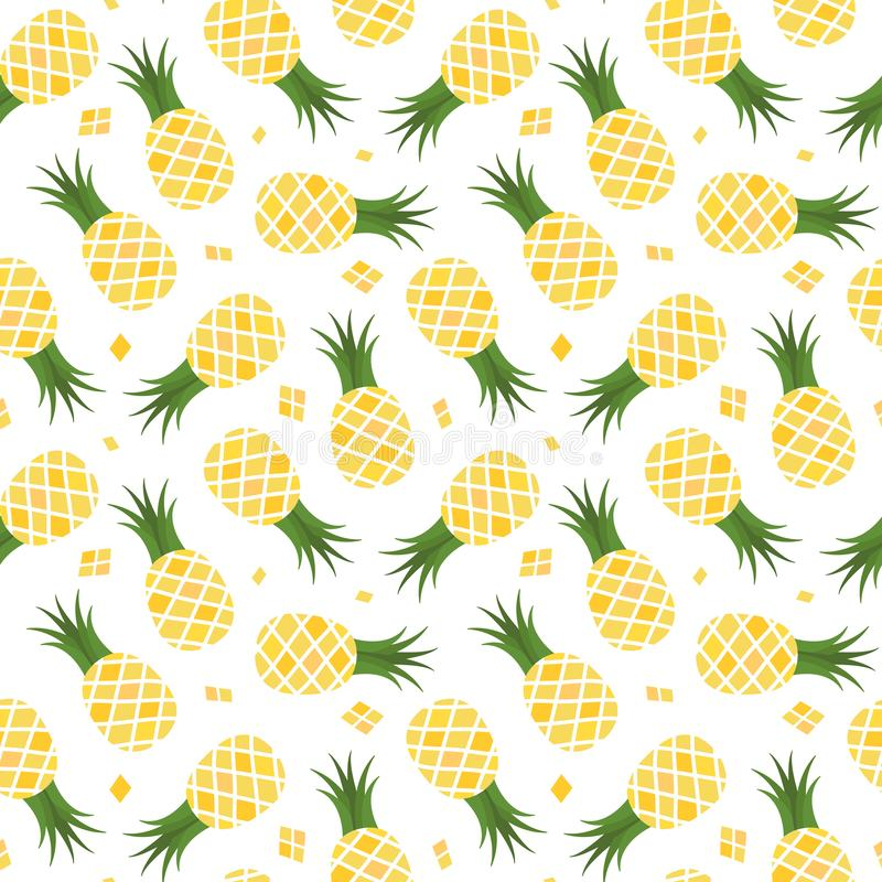 Vector seamless pattern with pineapples on white background. vector illustration