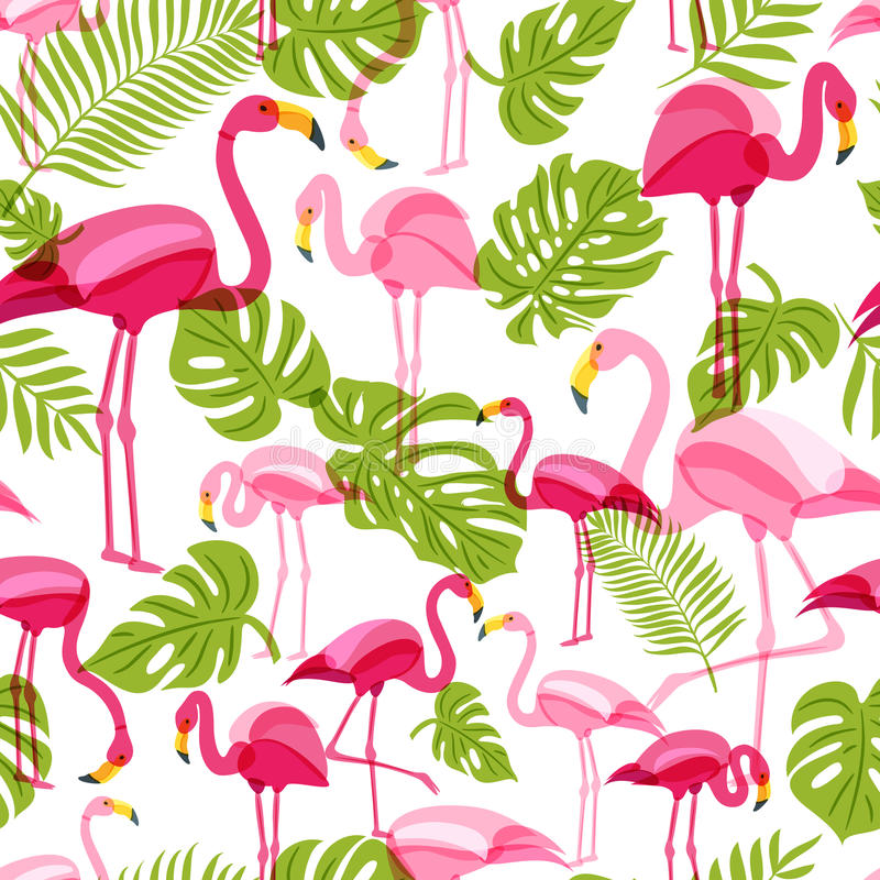 Vector seamless pattern with pink flamingo and green palm tree leaves. Summer tropical background. stock illustration