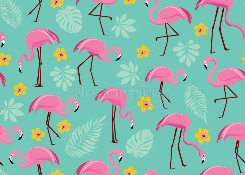 Seamless pattern with pink flamingos royalty free stock photography