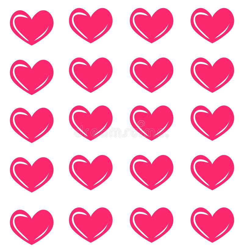 Vector seamless pattern with pink hearts. Heart print. Fashion texture royalty free illustration