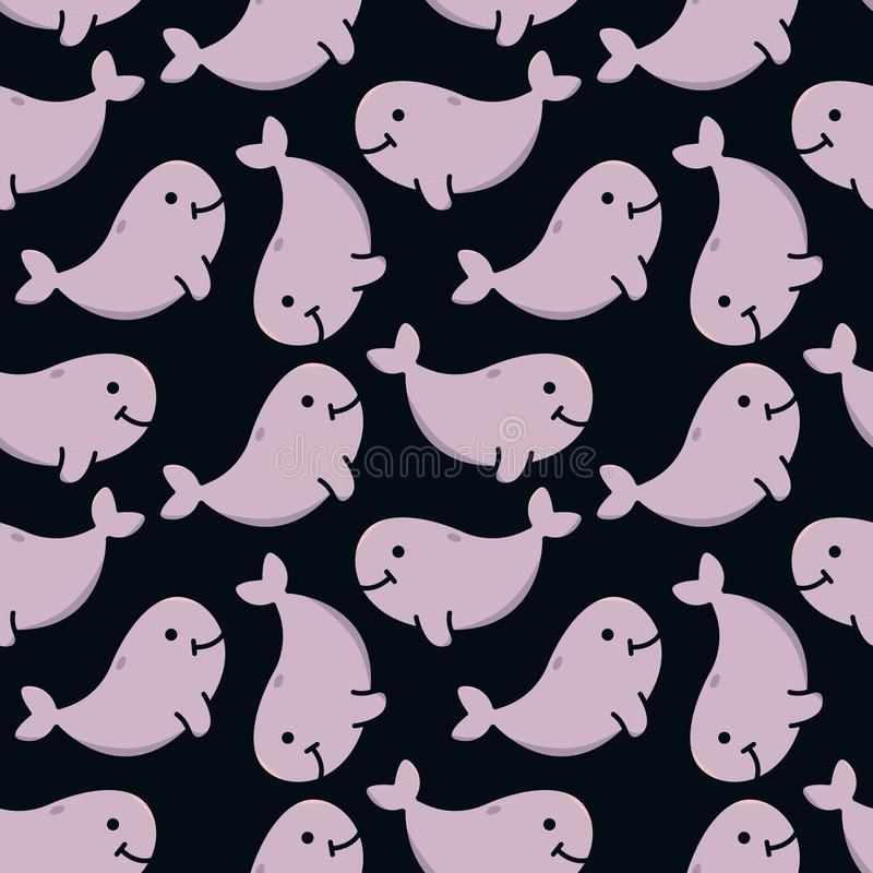 Vector seamless pattern with pink whales on dark background for kids royalty free illustration