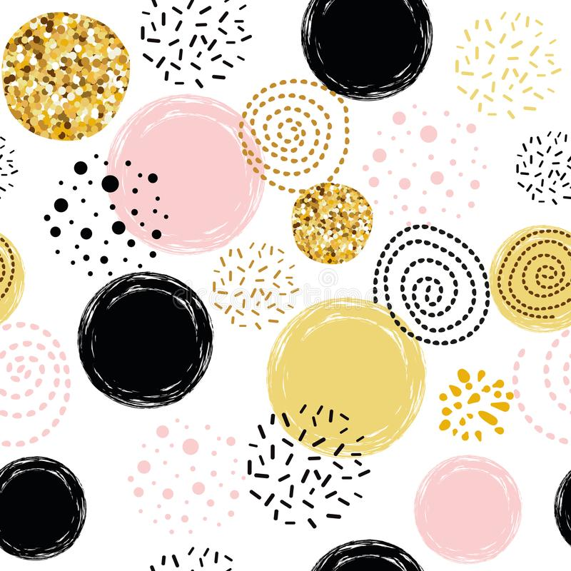 Vector seamless pattern polka dot abstract ornament decorated golden, pink, black hand drawn elements royalty free illustration