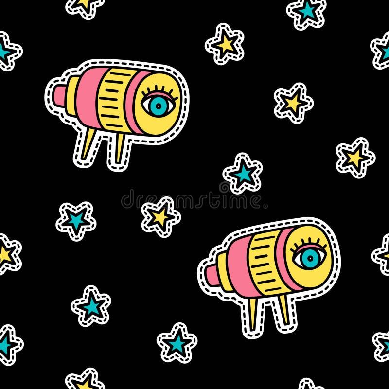 Vector seamless pattern in pop art style. Telescope and stars.  stock illustration