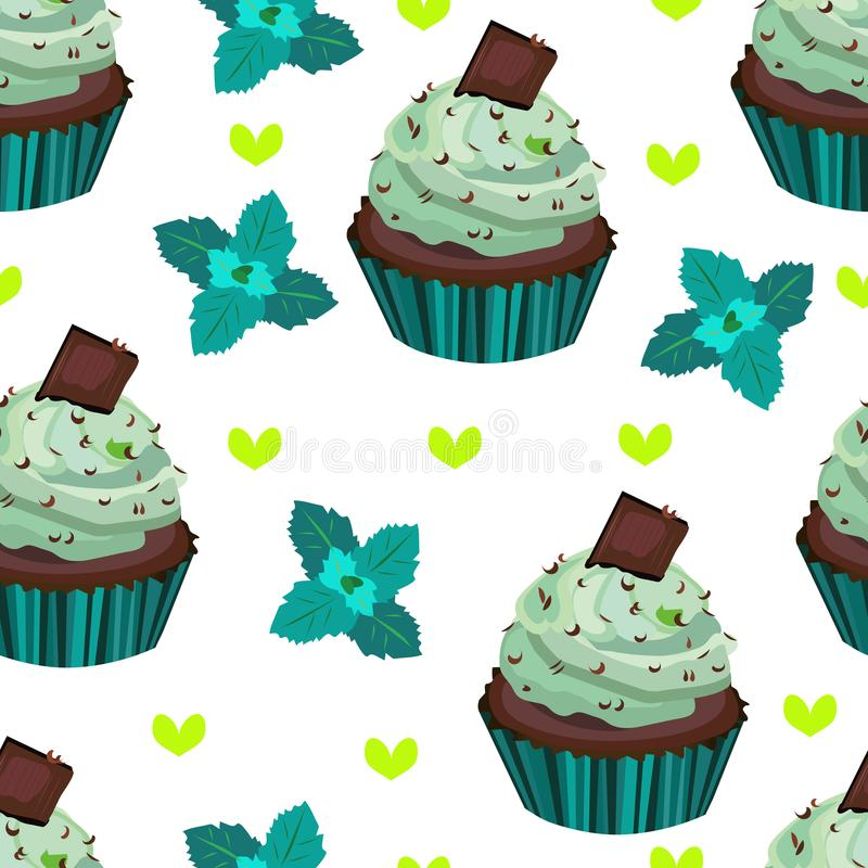 Vector seamless pattern, print with cupcakes,cakes,muffins. Chocolate and mint dessert illustration. stock illustration