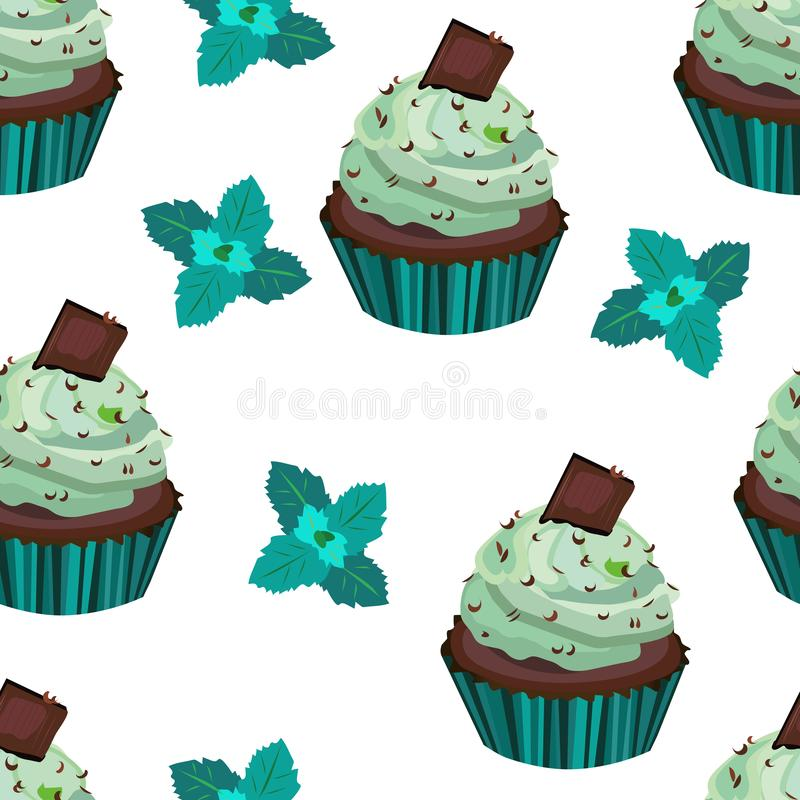 Vector seamless pattern, print with cupcakes,cakes,muffins. Chocolate and mint dessert illustration. royalty free illustration