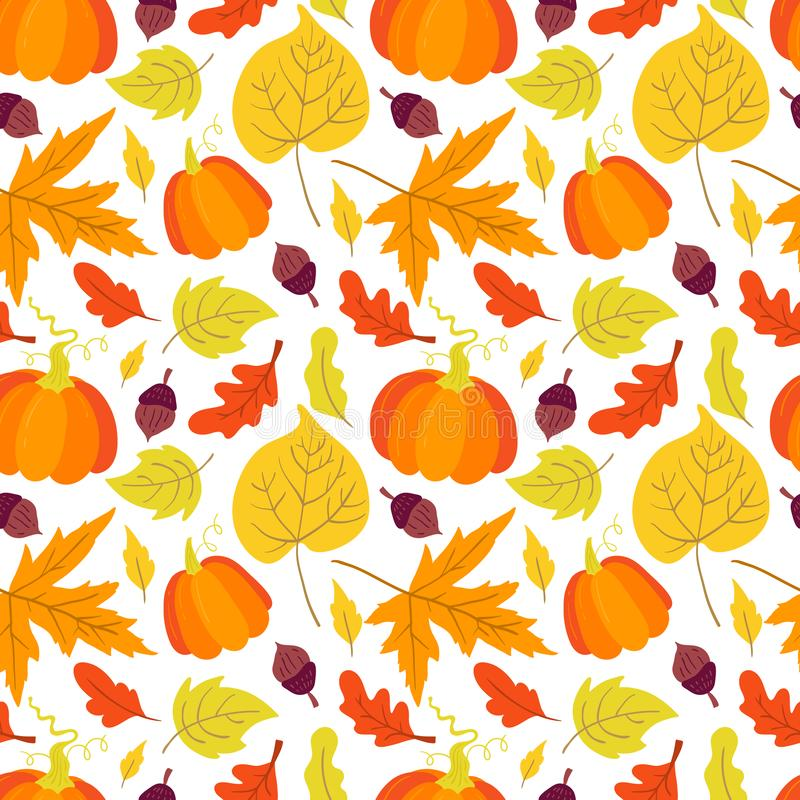 Vector seamless pattern with pumpkin,aspen, oak and maple. Leaves on white background. Perfect for wallpaper, gift paper, autumn greeting cards vector illustration