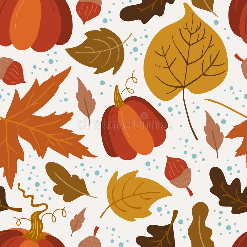 Vector seamless pattern with pumpkin,aspen, oak and maple. Leaves on white background. Perfect for wallpaper, gift paper, autumn greeting cards stock illustration