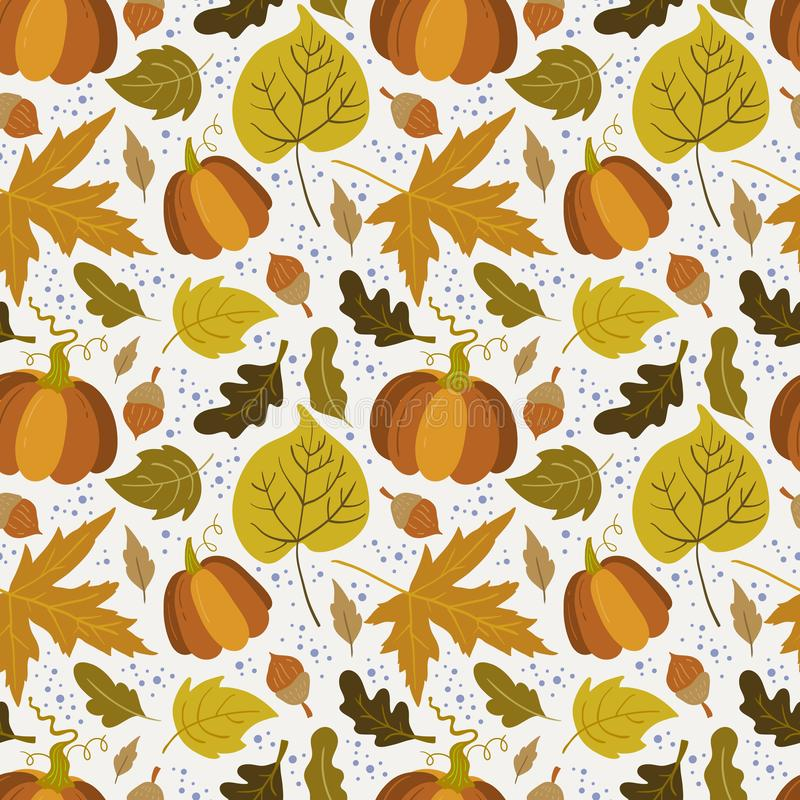 Vector seamless pattern with pumpkin,aspen, oak and maple. Leaves on white background. Perfect for wallpaper, gift paper, autumn greeting cards royalty free illustration