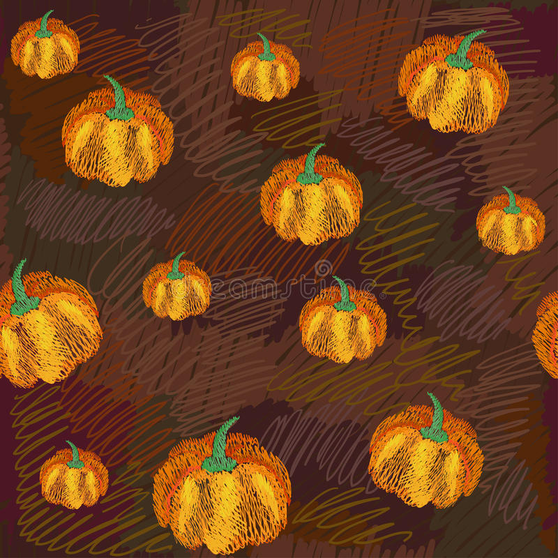 Vector seamless pattern with pumpkins. Endless texture can be used for printing onto fabric, paper or scrap booking, wallpaper, pattern fills, web page stock illustration