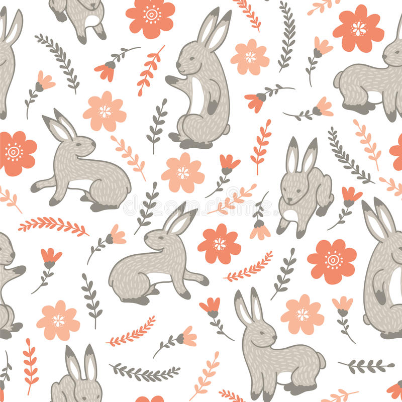 Vector seamless pattern with rabbits royalty free illustration
