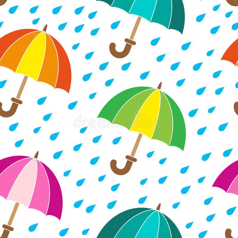 Vector seamless pattern. Rainy day and bright umbrellas. Vector seamless pattern. bright umbrellas royalty free illustration