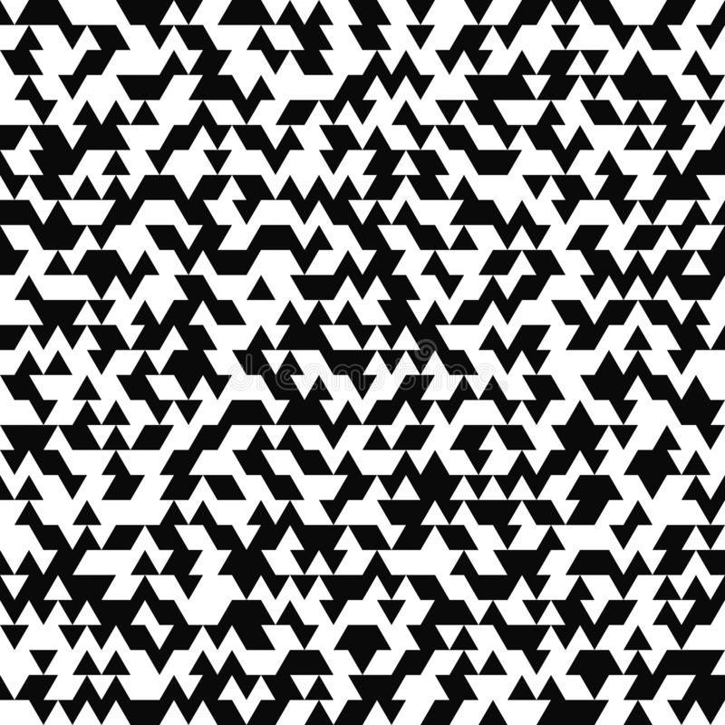 Vector seamless pattern. Random triangle texture. Black-and-white background. Monochrome design. royalty free illustration