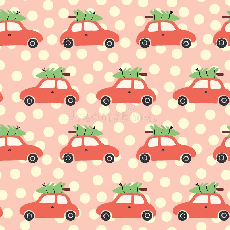 Vector seamless pattern with red car and christmas tree on the roof. Vintage Christmas background with retro cars and Christmas stock illustration