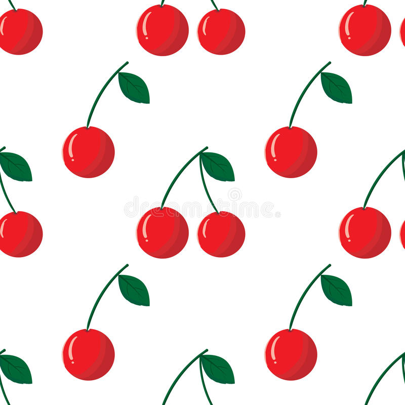 Vector seamless pattern with red cherry. Seamless pattern with red cherry on white background. Vector outline illustration. Sweet juicy fruit. Ripe berry. Ideal royalty free illustration