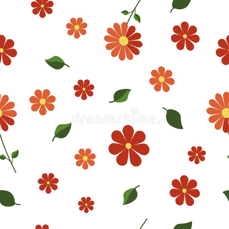 Vector seamless pattern with red orange flowers and green leaves isolated on white background. Endless texture. Wrapping vector illustration