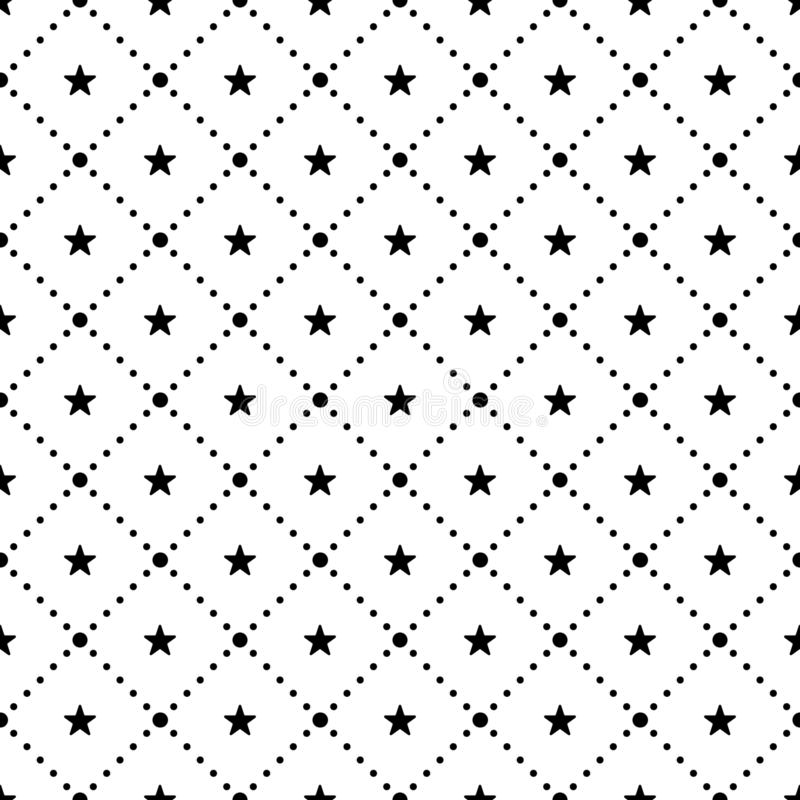 Vector seamless pattern. Repeating geometric tiles with dotted rhombus and stars royalty free illustration
