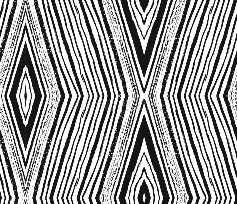Vector seamless pattern with rhombuses brush strokes. Abstract background made using of brush smears. hand drawn texture stock illustration
