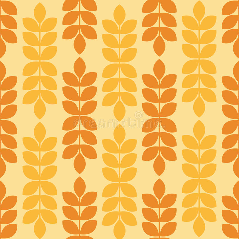 Vector seamless pattern with ripe ears of wheat. Minimalistic design and warm yellow tints. Endless texture can be used for wallpaper, fill, web background stock illustration