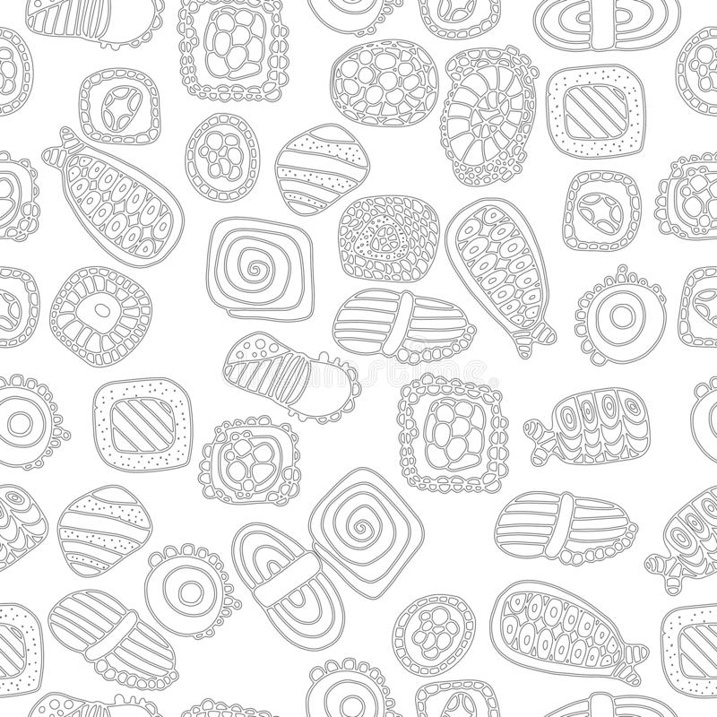 Vector seamless pattern with rolls and sushi in hand drawn style. Japanese food royalty free illustration