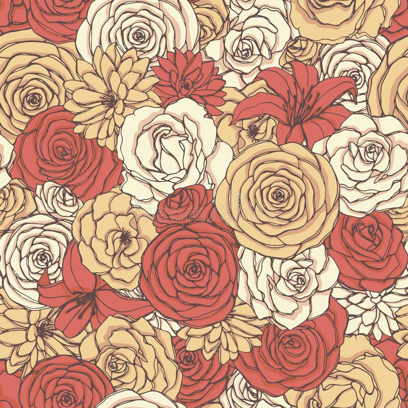 Vector seamless pattern with rose, lily, peony and chrysanthemum flowers of red, yellow and white colors. Hand drawn florals royalty free illustration