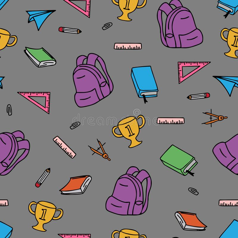 Vector seamless pattern with school elements isolated on white. Back to school background design for kids royalty free illustration