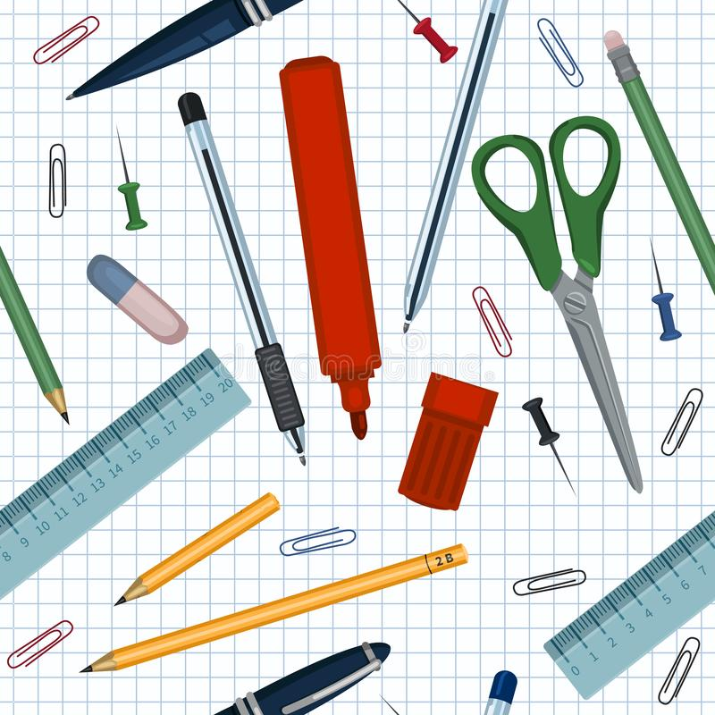 Vector Seamless Pattern of School Stationery Items on Checkered Paper Background royalty free illustration