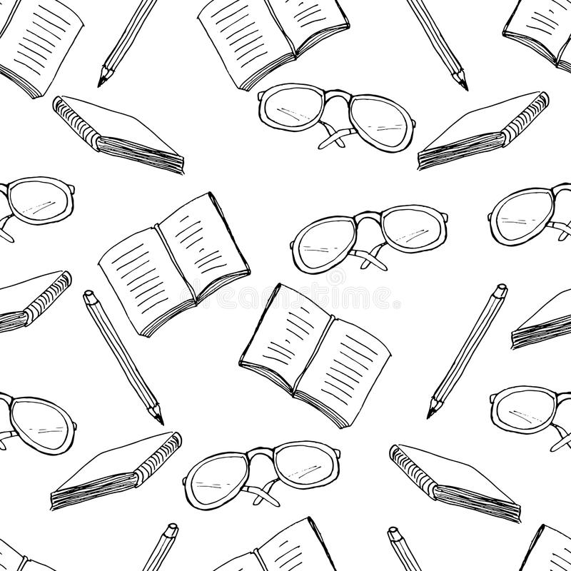 Vector seamless pattern with school stuff. Hand drawn background vector illustration