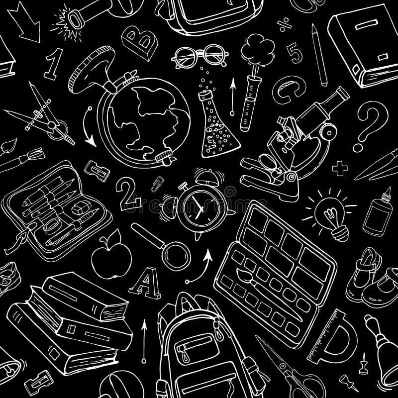 Vector seamless pattern of school supplies on black vector illustration
