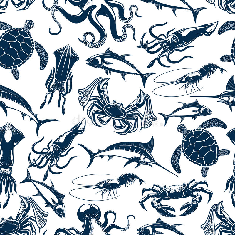 Vector seamless pattern sea fish fishing catch. Fish catch seamless pattern. Vector sea or ocean fishing marlin or tuna, lobster crab and turtle. Fisher catch of stock illustration