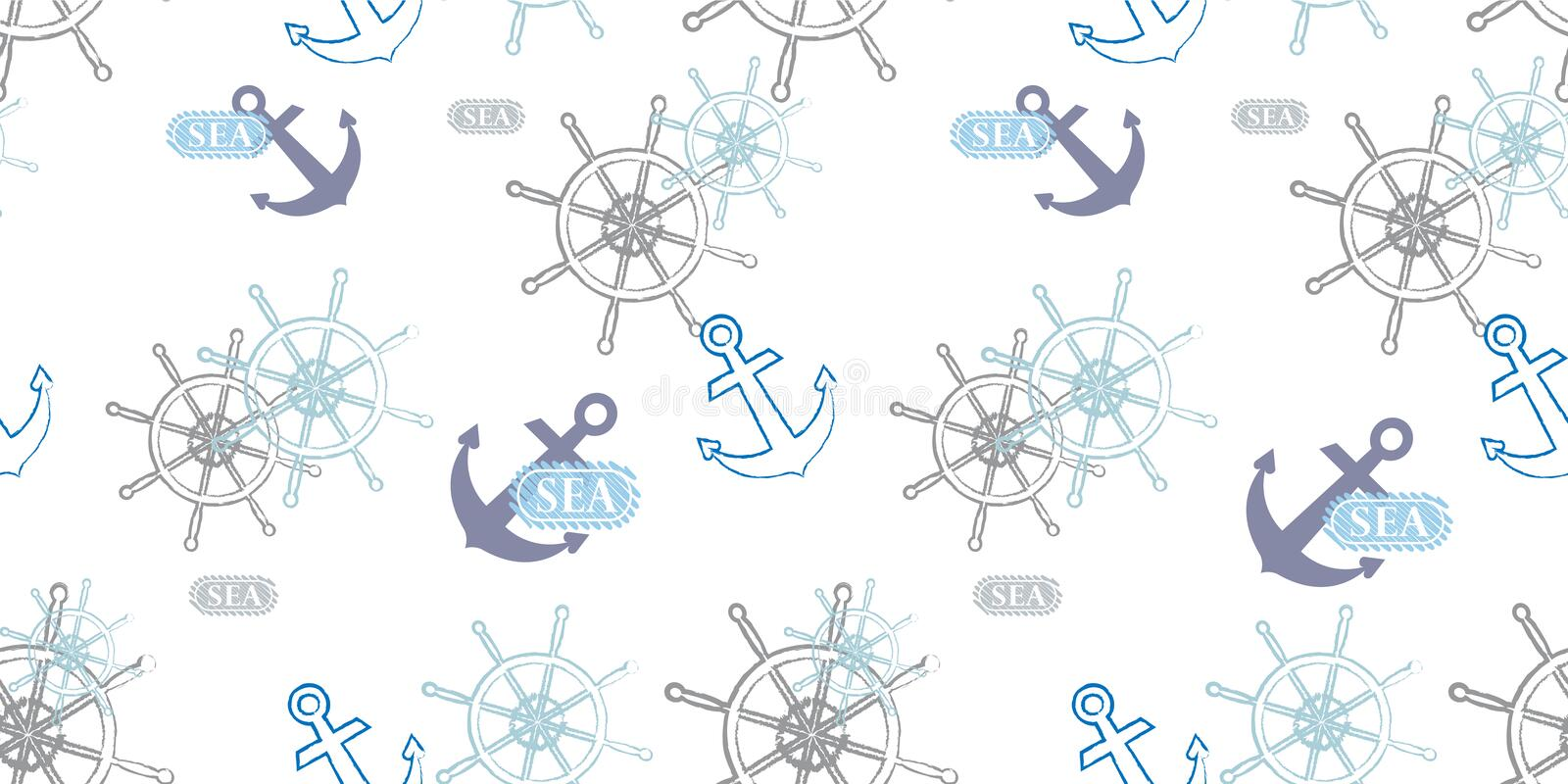 Vector seamless pattern on a sea theme. Steering wheel and anchor. Cover templates for notepad vector illustration