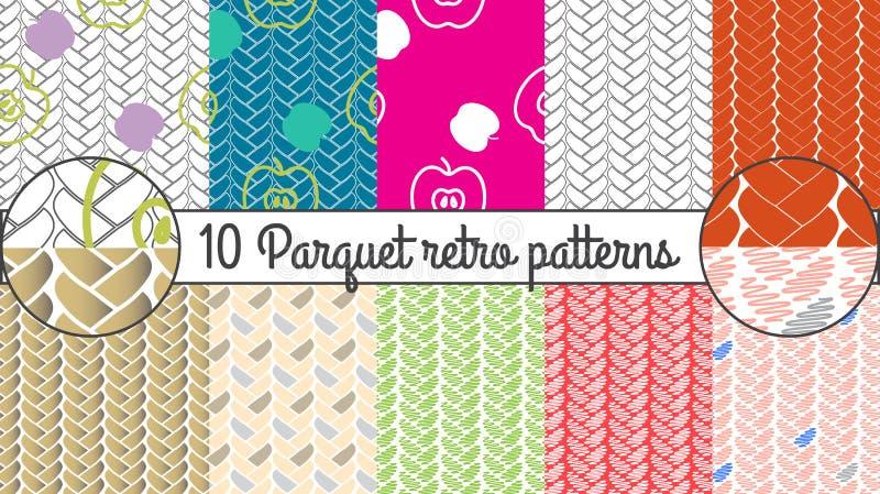 Vector seamless pattern set. Parquet retro background vector illustration