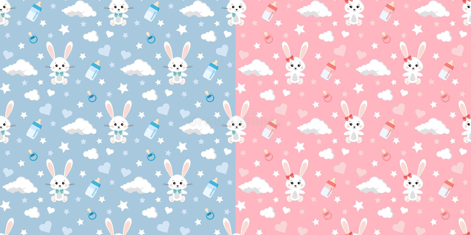 Vector seamless pattern set with rabbit, clouds, stars, dummy, baby bottles on blue and pink background for boy and girl vector illustration