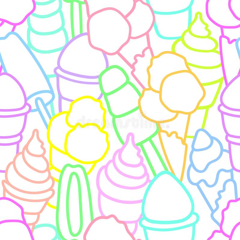 Vector seamless pattern Set of ice cream Art line royalty free illustration