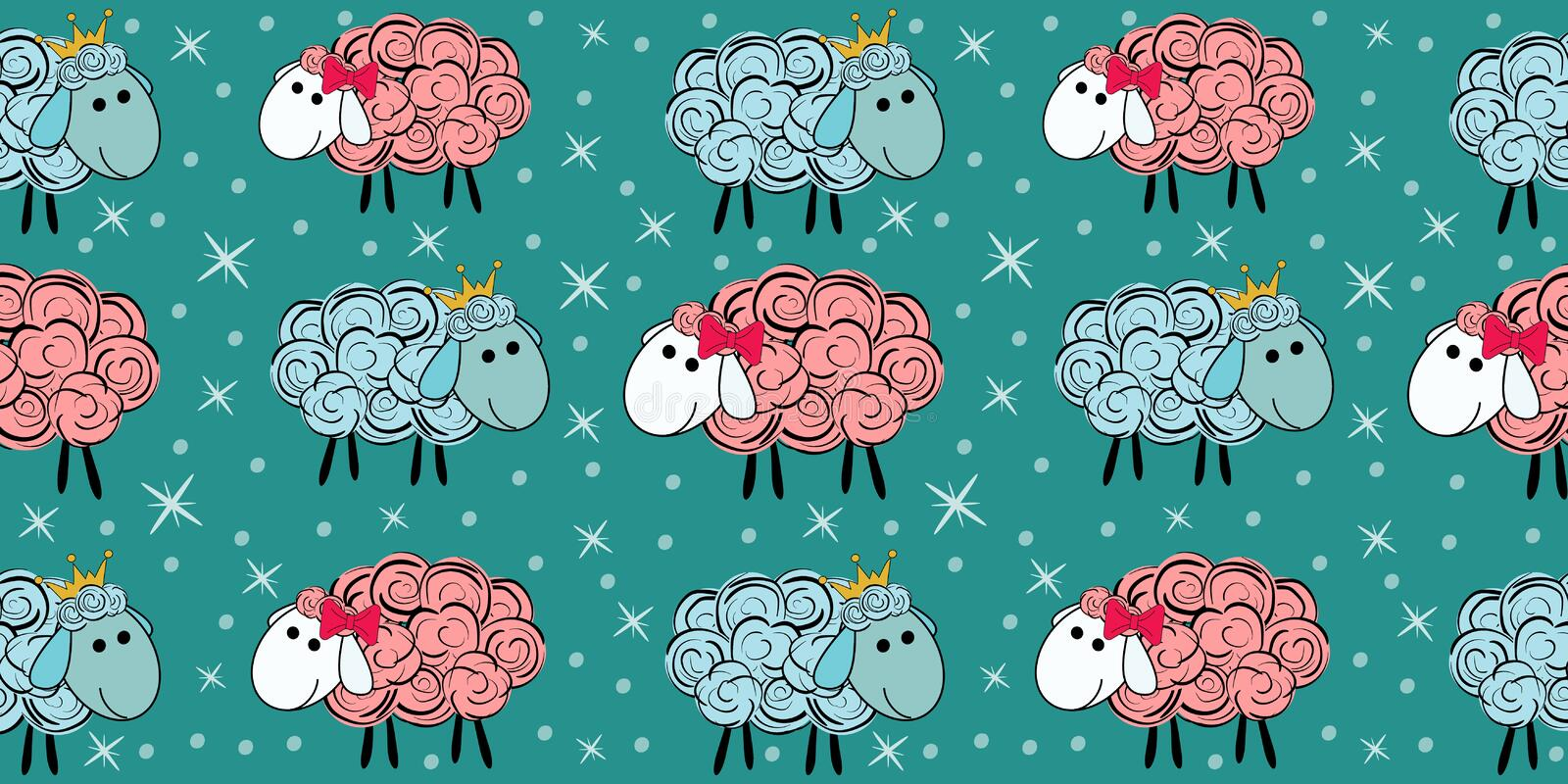 Vector seamless pattern with a sheep. Illustration of a cartoon sheep. Prints for textiles. vector illustration