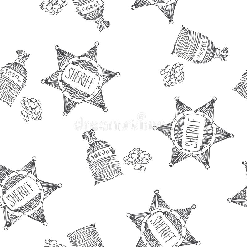 Vector seamless pattern with sheriff star and pocket of coins is royalty free illustration
