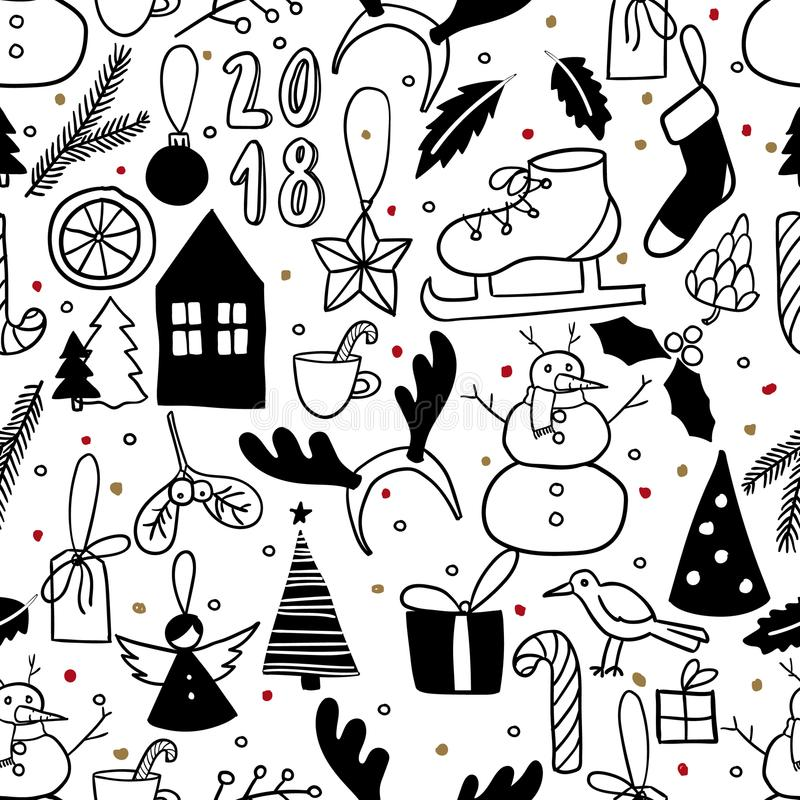 Free Vector Seamless Pattern. Simple Black And White Doodle. Snowman, Christmas Tree, Ice Skate, Present, Bird, Deer Horns Royalty Free Stock Images - 102199619
