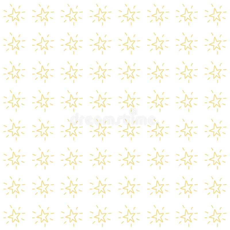 Vector seamless pattern of simple minimalist hand drawn stars. Editable colors and size stock illustration