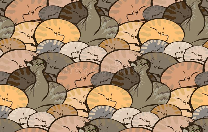 Vector seamless pattern with sleeping cats. Vector seamless pattern comprises many tabby sleeping cats and one of it awoke. Background can be used in textiles royalty free illustration