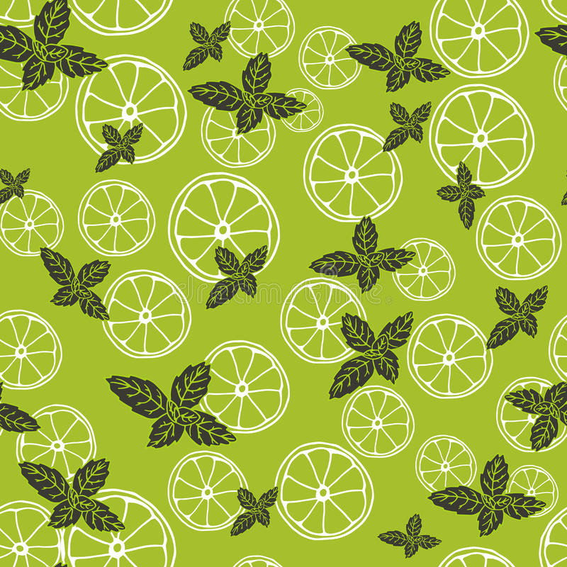 Vector seamless pattern with slices of lemon and mint. Mojito drink. Fabric texture royalty free illustration