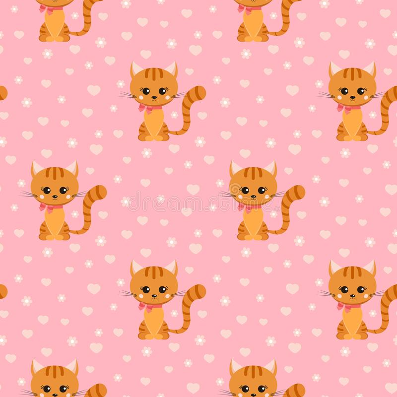 Vector seamless pattern with smiling little ginger striped cat with pink bow on its neck vector illustration