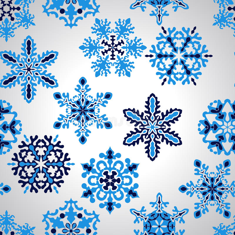 Vector Seamless Pattern with Snowflakes royalty free illustration