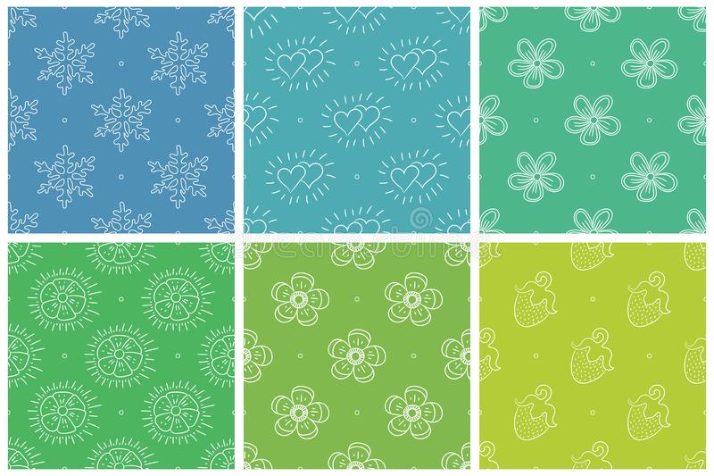 Vector seamless pattern. Snowflakes, hearts, flowers, strawberry. Green and blue color background. Winter, summer and spring stock illustration