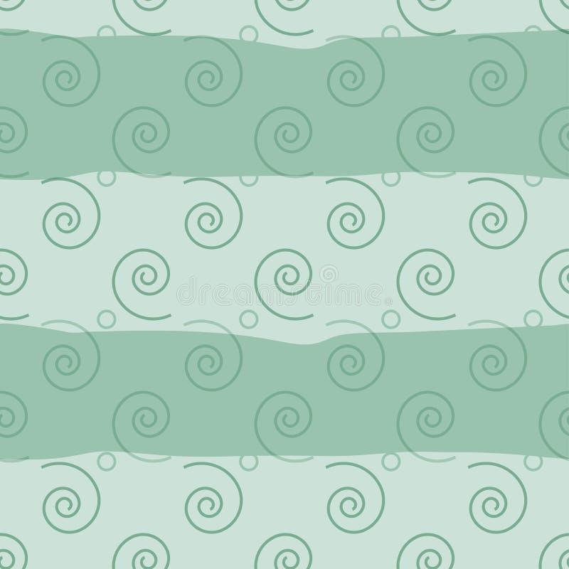 Vector seamless pattern. Soft regular swirl elements on a wavy background stock illustration