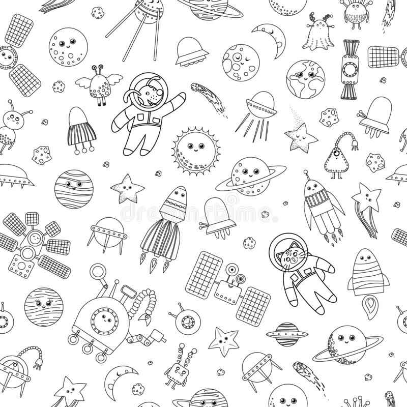 Vector seamless pattern of space objects vector illustration