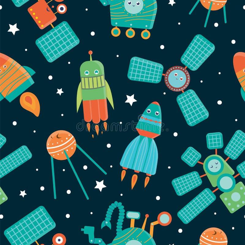 Vector seamless pattern of space technics for children vector illustration