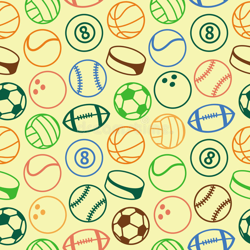 Download Vector Seamless Pattern With Sport Balls Stock