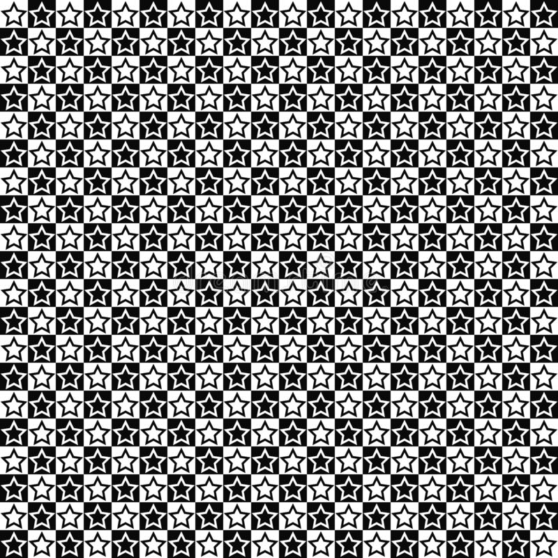 Vector seamless pattern. Star shapes in squares texture. Black-and-white background. Monochrome festive design. royalty free illustration