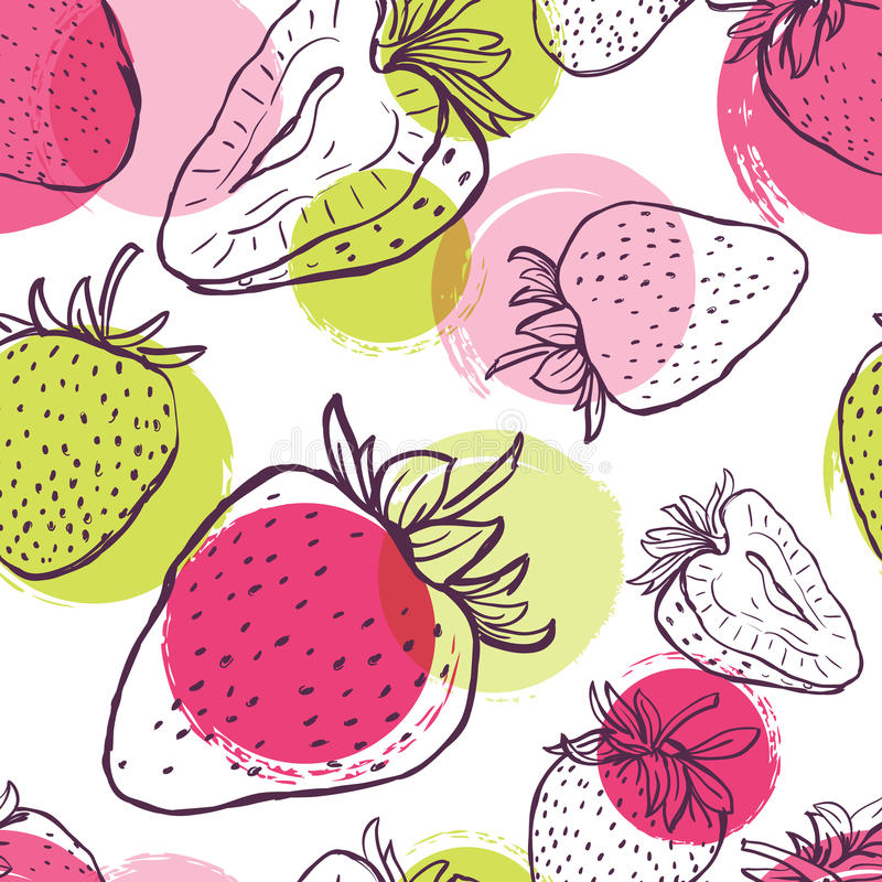 Vector seamless pattern with strawberries and colorful watercolor blots. royalty free illustration