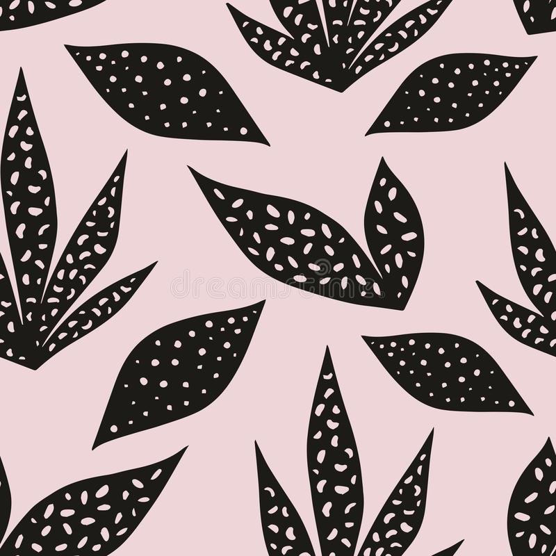 Vector seamless pattern with stylized leaves on a pink background. Hand drawing stock illustration